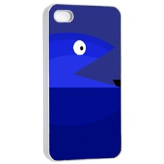 Blue Monster Fish Apple Iphone 4/4s Seamless Case (white) by Valentinaart