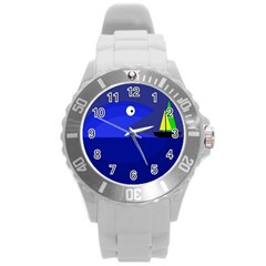 Blue Monster Fish Round Plastic Sport Watch (l) by Valentinaart