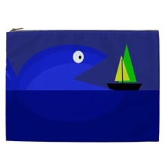 Blue Monster Fish Cosmetic Bag (xxl)  by Valentinaart