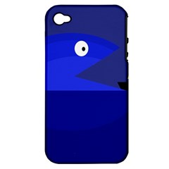 Blue Monster Fish Apple Iphone 4/4s Hardshell Case (pc+silicone) by Valentinaart