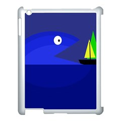 Blue Monster Fish Apple Ipad 3/4 Case (white) by Valentinaart