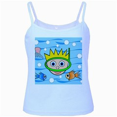 Diver Baby Blue Spaghetti Tank by Valentinaart