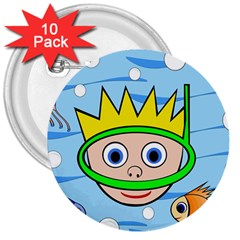 Diver 3  Buttons (10 Pack)