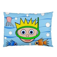 Diver Pillow Case (two Sides) by Valentinaart