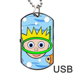 Diver Dog Tag Usb Flash (one Side) by Valentinaart