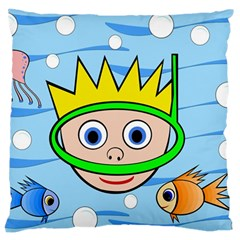 Diver Large Cushion Case (two Sides) by Valentinaart
