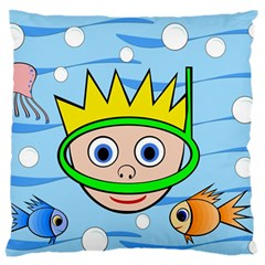 Diver Large Flano Cushion Case (one Side) by Valentinaart