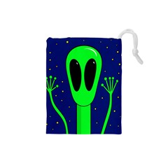 Alien  Drawstring Pouches (small)  by Valentinaart