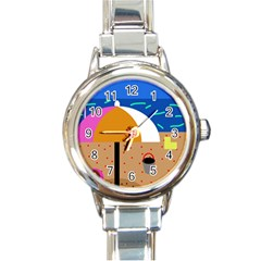 On The Beach  Round Italian Charm Watch by Valentinaart
