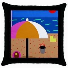 On The Beach  Throw Pillow Case (black) by Valentinaart