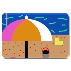On The Beach  Large Doormat  by Valentinaart
