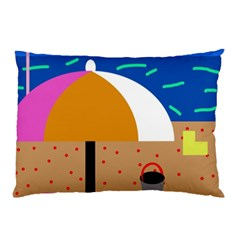 On The Beach  Pillow Case (two Sides) by Valentinaart