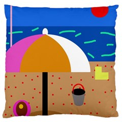 On The Beach  Large Flano Cushion Case (one Side) by Valentinaart