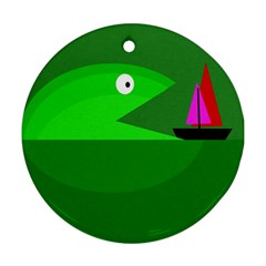 Green Monster Fish Ornament (round)  by Valentinaart