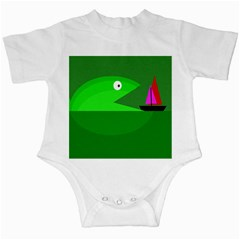 Green Monster Fish Infant Creepers by Valentinaart