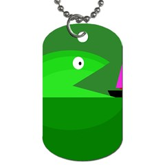 Green Monster Fish Dog Tag (two Sides) by Valentinaart