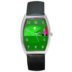 Green Monster Fish Barrel Style Metal Watch by Valentinaart