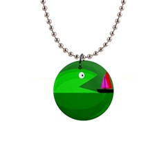 Green Monster Fish Button Necklaces by Valentinaart