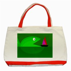 Green Monster Fish Classic Tote Bag (red) by Valentinaart