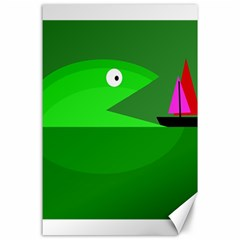 Green Monster Fish Canvas 24  X 36  by Valentinaart