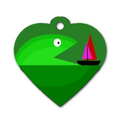 Green Monster Fish Dog Tag Heart (one Side) by Valentinaart