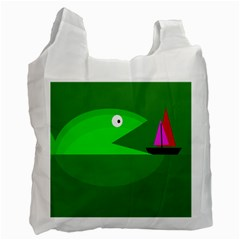 Green Monster Fish Recycle Bag (two Side)  by Valentinaart