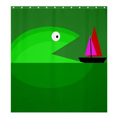 Green Monster Fish Shower Curtain 66  X 72  (large)  by Valentinaart
