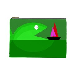 Green Monster Fish Cosmetic Bag (large)  by Valentinaart