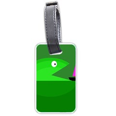 Green Monster Fish Luggage Tags (one Side)  by Valentinaart