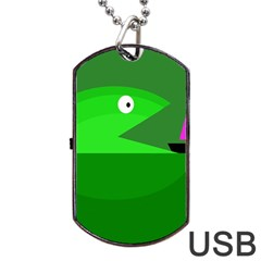 Green Monster Fish Dog Tag Usb Flash (one Side) by Valentinaart