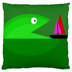 Green Monster Fish Large Cushion Case (one Side) by Valentinaart