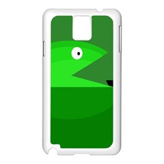 Green Monster Fish Samsung Galaxy Note 3 N9005 Case (white) by Valentinaart