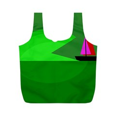 Green Monster Fish Full Print Recycle Bags (m)  by Valentinaart
