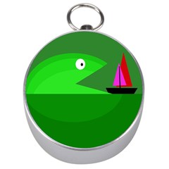 Green Monster Fish Silver Compasses by Valentinaart