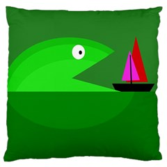 Green Monster Fish Standard Flano Cushion Case (two Sides) by Valentinaart