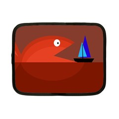 Red Monster Fish Netbook Case (small)  by Valentinaart