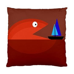 Red Monster Fish Standard Cushion Case (two Sides) by Valentinaart