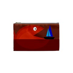 Red Monster Fish Cosmetic Bag (small)  by Valentinaart