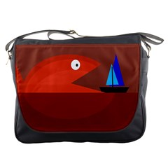 Red Monster Fish Messenger Bags by Valentinaart