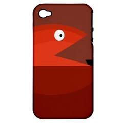 Red Monster Fish Apple Iphone 4/4s Hardshell Case (pc+silicone) by Valentinaart
