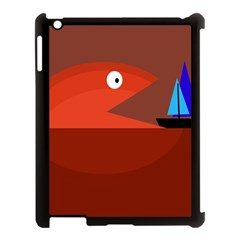 Red Monster Fish Apple Ipad 3/4 Case (black) by Valentinaart