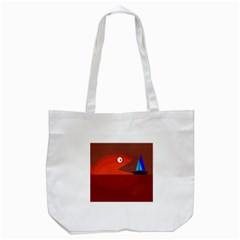 Red Monster Fish Tote Bag (white) by Valentinaart