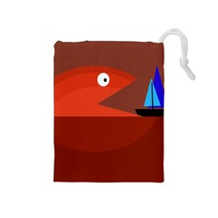 Red Monster Fish Drawstring Pouches (medium)  by Valentinaart