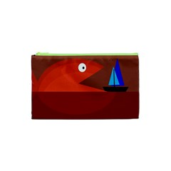 Red Monster Fish Cosmetic Bag (xs) by Valentinaart