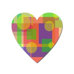 Colorful Geometrical Design Heart Magnet by Valentinaart