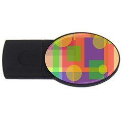 Colorful Geometrical Design Usb Flash Drive Oval (2 Gb)  by Valentinaart