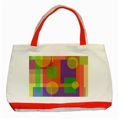 Colorful Geometrical Design Classic Tote Bag (red) by Valentinaart