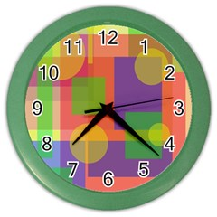 Colorful Geometrical Design Color Wall Clocks by Valentinaart