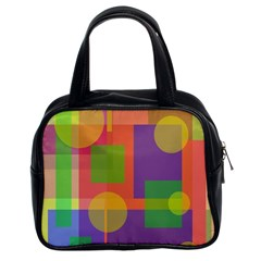 Colorful Geometrical Design Classic Handbags (2 Sides) by Valentinaart