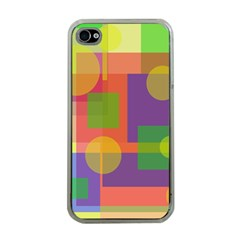 Colorful Geometrical Design Apple Iphone 4 Case (clear) by Valentinaart